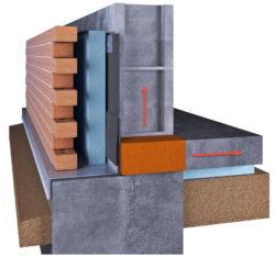 Foundation wall thermal break prevents heat loss